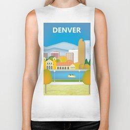 Denver, Colorado - Skyline Illustration by Loose Petals Biker Tank