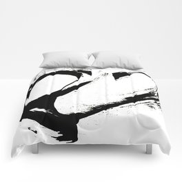 Brushstroke 6: a minimal, abstract, black and white piece Comforters