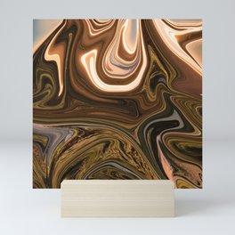 Gold Liquid Marble Swirling Pattern Texture Artwork #2 Mini Art Print