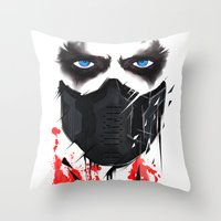bucky barnes Throw Pillows featuring Bucky Barnes by akaori_art