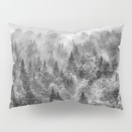 Pinsapos into the woods. BW. Foggy sunrise Pillow Sham