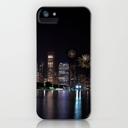 Chicago night skyline with fireworks, Usa. iPhone Case