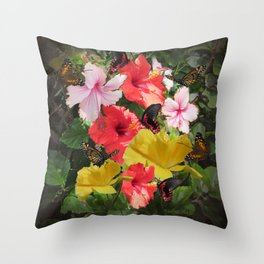 Hibiscus meeting Throw Pillow