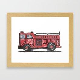 Chicago Firetruck Print for Kids (or Kids-At-Heart!) Framed Art Print