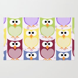 Colorful Owls - Green Blue Purple Yellow Rug