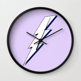Just Me and My Shadow Lightning Bolt - Purple White Blue Wall Clock