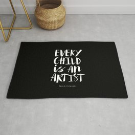 Every Child is an Artist Pablo Picasso black and white typography quote home room wall decor Rug