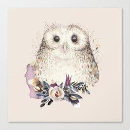 Boho Illustration- Be Wise Little Owl Canvas Print