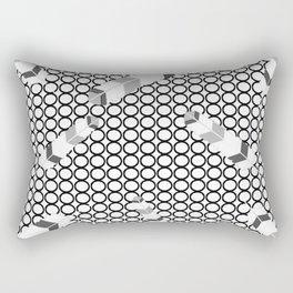Embossedfeathersblackhollowcircles Rectangular Pillow