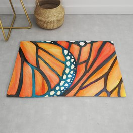 Monarch Butterfly Wings Watercolor Abstract Rug