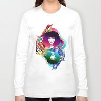 afro Long Sleeve T-shirts featuring Afro Girl by Irmak Akcadogan
