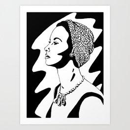 50's Lady (black and white version) Art Print
