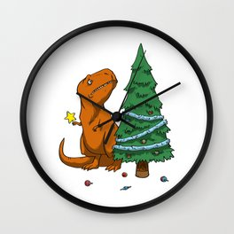 The Struggle Dinosaur In Merry Christmas Wall Clock