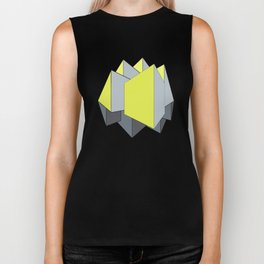 Abstract yellow and gray blocks in 2-point perspective Biker Tank