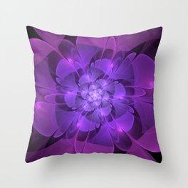 Purple Dew Drops   Abstract digital flower Throw Pillow