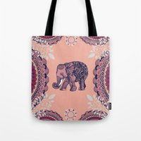 bohemian Tote Bags featuring Bohemian Elephant  by rskinner1122