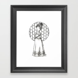 Lady and Cat Framed Art Print