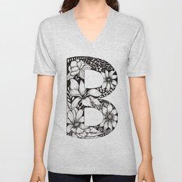 'B' Floral Monogram in Black and White Ink. Unisex V-Neck