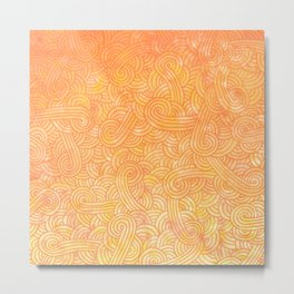 Yellow and orange swirls doodles Metal Print