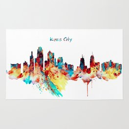 Kansas City Skyline Silhouette Rug