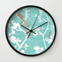 Chinoiserie Panels 4-5 White Scene on Teal Raw Silk - Casart Scenoiserie Collection Wall Clock