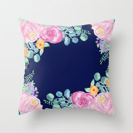 light pink peonies with navy background Throw Pillow