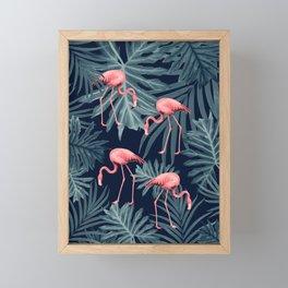 Summer Flamingo Jungle Night Vibes #1 #tropical #decor #art #society6 Framed Mini Art Print