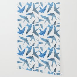 Watercolor birds - sapphire ink Wallpaper