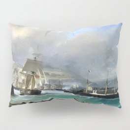 A Breezy Day Off Dover Harbour seascape nautical painting by Julius Hintz Pillow Sham
