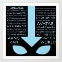 the last airbender Art Prints featuring The Last Airbender by first a shadow