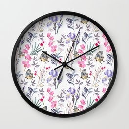 Pink lavender watercolor hand painted orchid floral butterfly Wall Clock