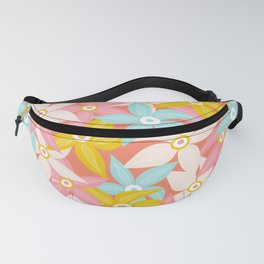 Stylized Large Illustrated Flowers in summer color palette Fanny Pack