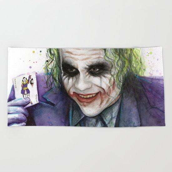 Joker Why So Serious Watercolor Beach Towel