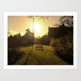 Tranquility at the wooden bench Art Print