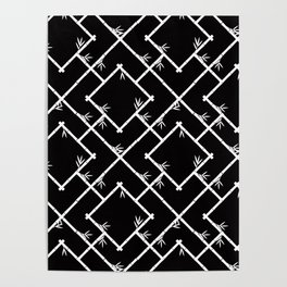 Bamboo Chinoiserie Lattice in Black + White Poster
