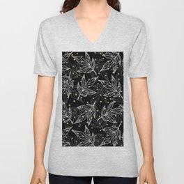 Black white gray faux gold polka dots floral Unisex V-Neck