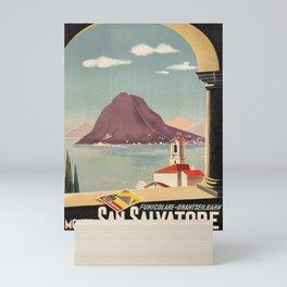 old poster funicolare drahtseilbahn monte san salvatore lugano lac Mini Art Print