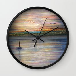 Boat and Bird in Oil Pastels Wall Clock