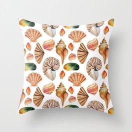Modern brown pink green watercolor hand painted seashells Throw Pillow