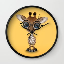 Cute Curious Baby Giraffe Wearing Glasses Wall Clock
