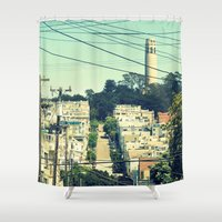 san francisco Shower Curtains featuring San Francisco by Mr and Mrs Quirynen