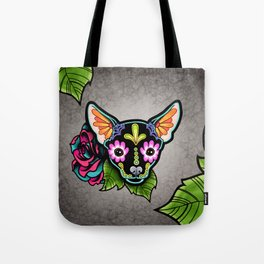 Chihuahua in Black - Day of the Dead Sugar Skull Dog Tote Bag