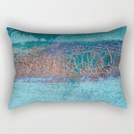 Rust and Cracks Turquoise Rectangular Pillow