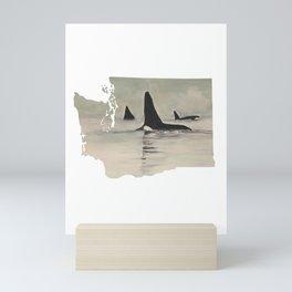 Washington State Salish Sea Orca Mini Art Print