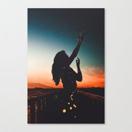WOMAN - SUNRISE - SUNSET - LIGHTS - PHOTOGRAPHY Canvas Print