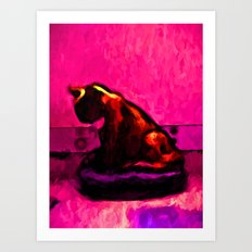 Cat and a Hot Pink Wall Art Print
