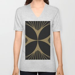 Diamond Series Floral Cross Gold on Charcoal Unisex V-Neck