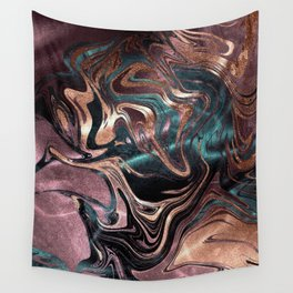 Metallic Rose Gold Marble Swirl Wall Tapestry