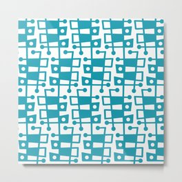 Mid Century Modern Abstract 213 Turquoise Metal Print