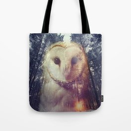 Merge owl and forest reflection Tote Bag